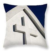White Cross Blue Sky Throw Pillow