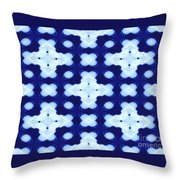 White Crosses And Blue Diamond Abstract Throw Pillow