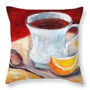 White Cup With Lemon Wedge And Spoon Grace Venditti Montreal Art Throw Pillow
