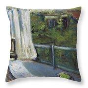 White Curtain View Throw Pillow
