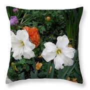 White Daffodills Throw Pillow