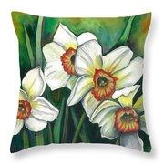 White Daffodils Throw Pillow