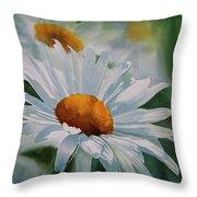White Daisies Throw Pillow by Sharon Freeman