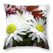 White Daisy Floral Art Print Canvas Pink Blossom Baslee Troutman Throw Pillow