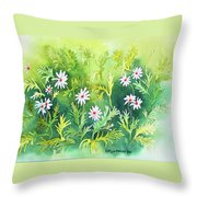 White Daisys Throw Pillow