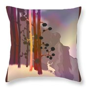 White Deer Climbing Mountains - Abstract And Colorful Forest Throw Pillow