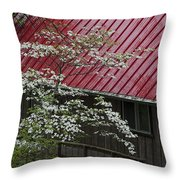 White Dogwood In The Rain Throw Pillow