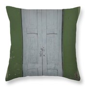 White Door In A Green Wall Throw Pillow