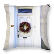 White Door In Charleston Sc Throw Pillow by Susanne Van Hulst