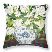 White Double Tulips And Alstroemerias Throw Pillow