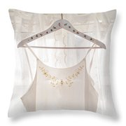 White Dress On Clothes Hanger Throw Pillow
