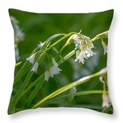 White Drooping Flower Throw Pillow