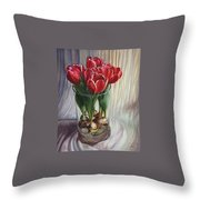 White-edged Red Tulips Throw Pillow