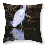 White Egret And Reflection Throw Pillow