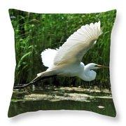 White Egret In Flight Throw Pillow