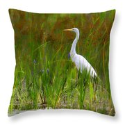 White Egret In Waiting Throw Pillow