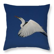 White Egret Soaring Into The Blue Throw Pillow