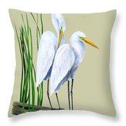 White Egrets And White Lillies Throw Pillow