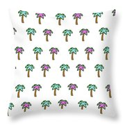 White Epic Palm Tree Print Throw Pillow
