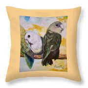 Chloe The    Flying Lamb Productions           White Faced Lovebirds Throw Pillow