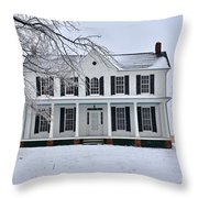 White Farm House During Winter Throw Pillow