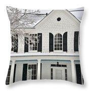 White Farm House In Winter Throw Pillow