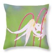 White Fawn Lilies In The Rain Throw Pillow