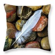 White Feather On River Stones Throw Pillow