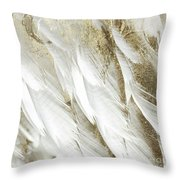 White Feathers With Gold Throw Pillow