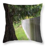 White Fence And Tree Throw Pillow by Tom Singleton