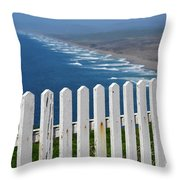 White Fence And Waves Throw Pillow