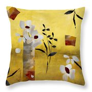 White Floral Collage Throw Pillow