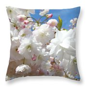 White Floral Tree Flower Blossoms Art Baslee Troutman Throw Pillow