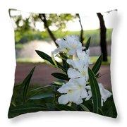 White Flowe Throw Pillow