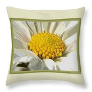 White Flower Abstract With Border Throw Pillow