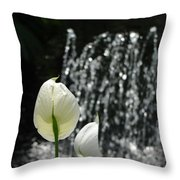 White Flower At Fountain Throw Pillow
