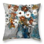 White Flower In Vase And Mug Throw Pillow