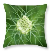 White Flower Spidery Leaves Throw Pillow