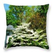 White Flowering Tree Throw Pillow
