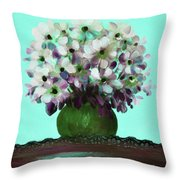 White Flowers In A Vase Throw Pillow