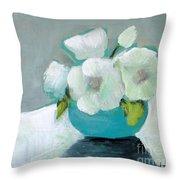 White Flowers In Blue Vase Throw Pillow