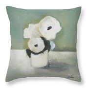 White Flowers In Vase Throw Pillow