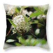 White Flowers On Canvas Throw Pillow