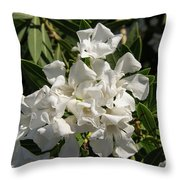 White Flowers On Green Leaves Throw Pillow