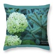 White Flowers W14 Throw Pillow