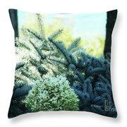 White Flowers W15 Throw Pillow