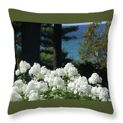 White Flowers W16 Throw Pillow