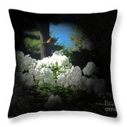 White Flowers With Monarch Butterfly Throw Pillow