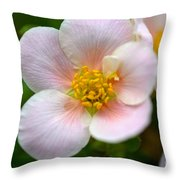 White Flowers With Pink And Yellow Throw Pillow