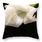 White Gladiolus Throw Pillow